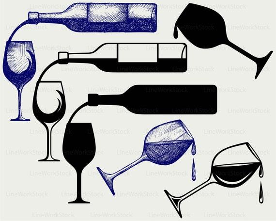 Flasche Wein Svg Trinken Clipart Alkohol Svg Kontur Wein Etsy