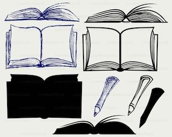Open book svg/book clipart/book svg/open book silhouette/book cricut cut files/book clip art/book digital download designs/svg