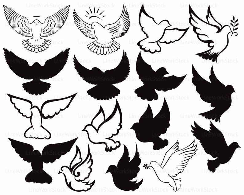 Dove svg/dove clipart/dove svg/Peace Dove silhouette/pigeon cricut/dove cut  files/dove clip art/bird digital download/svg/designs
