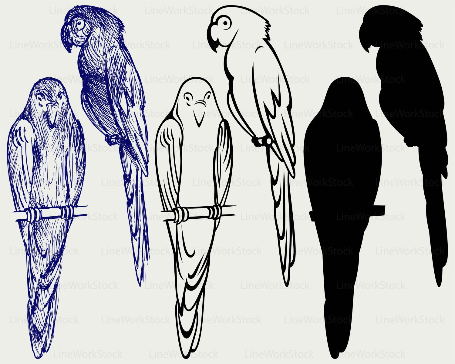 Parrot Svg Clipart Bird Silhouette Etsy Origamiorigami Macaw Parrotorigami Diagram 50