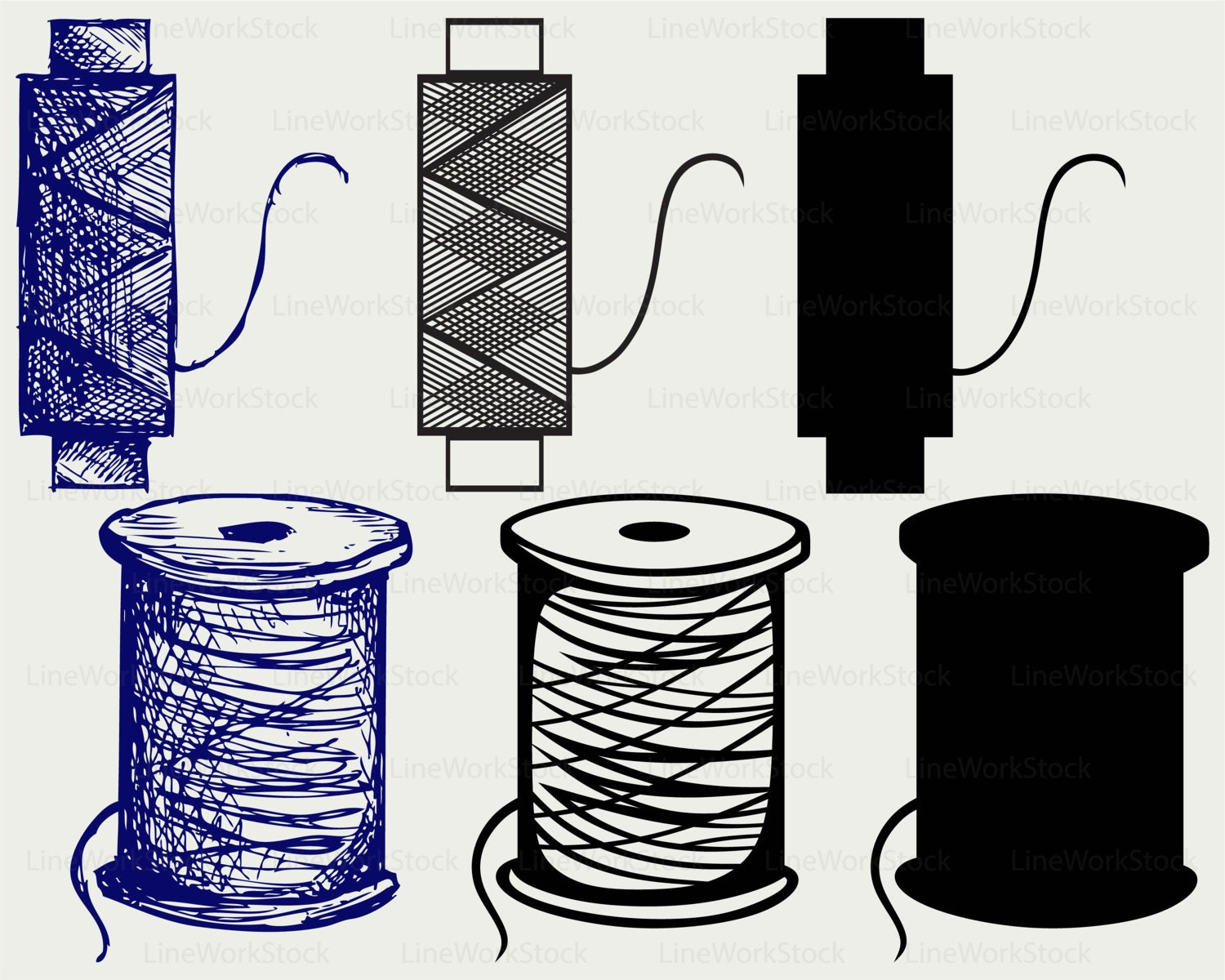 Spool threads svg/threads clipart/svg/threads silhouette/spool | Etsy