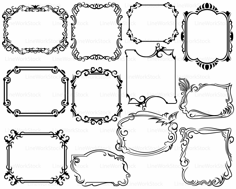 Frame svg/scroll clipart/frame svg/swirl silhouette/frame cricut ...