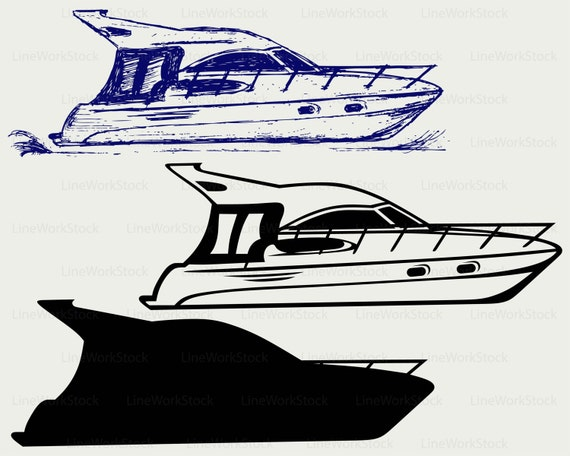 Yacht Svg Clipart Yacht Svg Bateau Silhouette Yacht Etsy