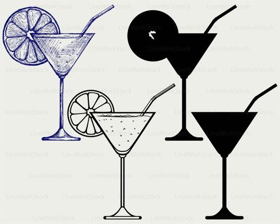 Cocktail svg,cut files,silhouette clipar   Multi Clipart