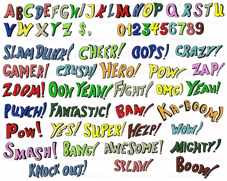 Comic book svg/words clipart/ABC svg/words silhouette/comic cricut/words  cut files/comic clip art/ABC digital download/digits svg/designs