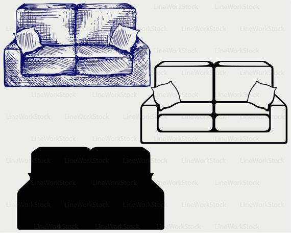 Sofa Svg Sofa Clipart Sofa Svg Furniture Silhouette Sofa Etsy
