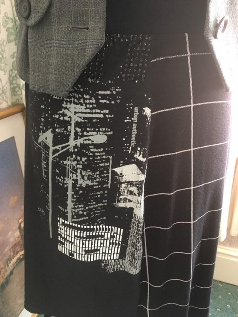 t-shirt to skirt  refashion  repurpose  upcycle  reuse  boho  festival wear UPCYCLED Black Cityscape