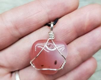 Apricot Botswana Agate Tumbled Adjustable Pendant Necklace