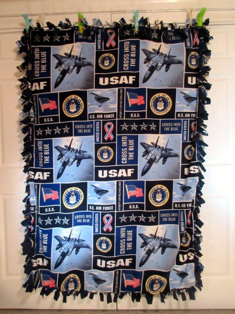 ~ No Sew Hand Tied Military Blanket Made From Licensed United States Armed Forces Fabric USAF United States Air Force