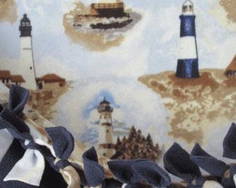 Safe Harbor Lighthouses ~ No Sew Hand Tied Fleece Blanket