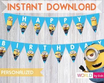 Digital Minions Banner | Minion Birthday | Minion Party | Minion Birthday Banner | Minions Decorations | Minion Party Ideas |