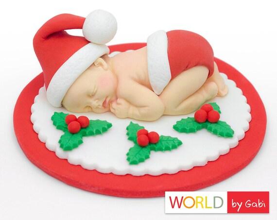 Christmas Baby Fondant Santa Baby Cake Toppers Baptism Etsy