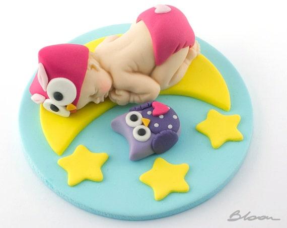 Baby Owl Fondant Fondant Owl Eule Baby Dusche Baby Cake Etsy