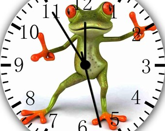 Borderless Cute Green Frog Frameless Wall Clock W117 Nice for Decor Or Gifts