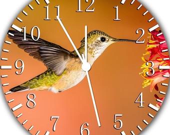 Wall Clock Black /& Yellow Silhouette Hummingbird