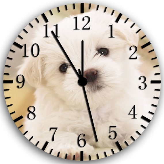 Maltese puppy Frameless Borderless Wall Clock W156 Nice For Gifts or Home Decor