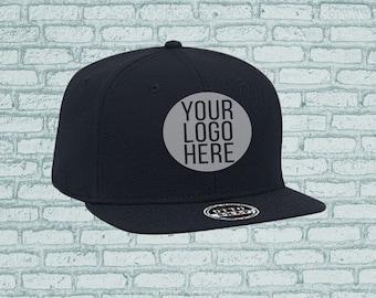 9147417b5b9 Personalized Embroidered Printed Custom Dad Hat Black Baseball cap Flat or  Curved Brim Logo Artwork Design