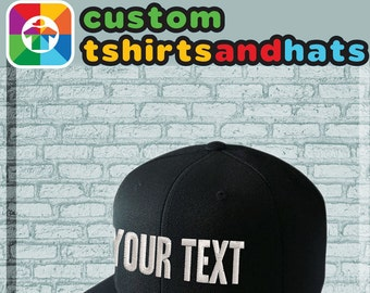 f8c4ed0d992 Custom Hat Embroidery TEXT Embroidered Cap with Writing Choose from  Adjustable Snapback