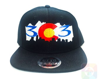 108f62c9fcc 303 Colorado Mountains Flat Six Panel Pro Style Snapback Hat 1407