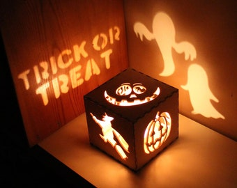 Halloween Decoration Halloween Lantern Pumpkin Lantern Rustic Halloween Decorations, Witch Lantern, Ghosts, Unique Night Light Decoration