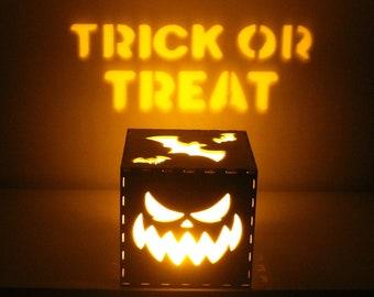 Halloween Jack O Lantern Pumpkin Decoration, Personalized Halloween Lamp, JackOLantern Creepy Decor, Halloween Lights, Wood Pumpkins