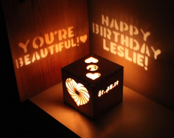 Personalized Gift Birthday For Her Or Him Girlfriend Wood Box Anniversary Custom Message Romantic Lantern
