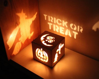 Halloween Decor Vintage Halloween Lantern Pumpkin Lantern Rustic Halloween Decorations, Witch Lantern, Ghosts, Unique Night Light Decoration