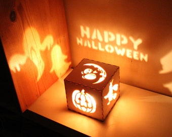 Halloween Decorations Halloween Signs Wreath Pumpkin Lantern Rustic Halloween Decorations, Witch Lantern, Ghosts, Unique Night Light