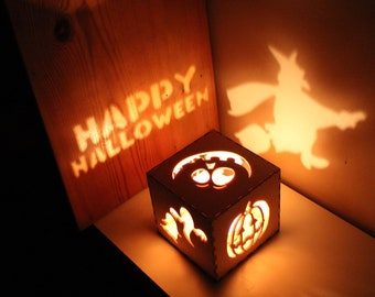 Halloween Decor Halloween Wreath Pumpkin Lantern Rustic Halloween Decorations, Witch Lantern, Ghosts, Unique Night Light Decoration