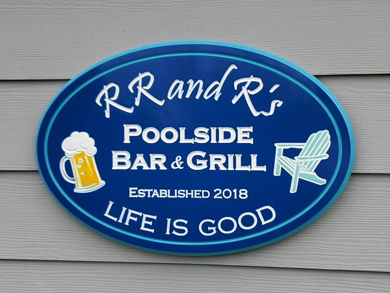 Swimming Pool Signs Personalized, Bar & Grill Signs Customized