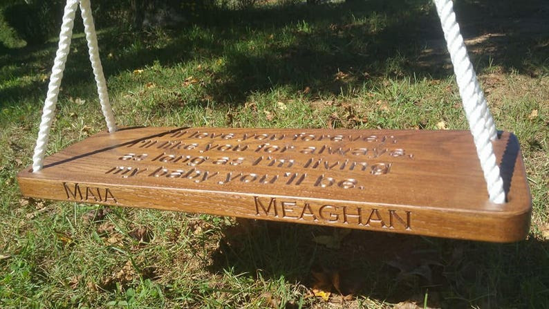 Custom Engraved Wood Tree Swing Solid Oak Personalized