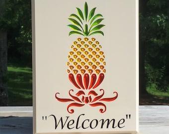 Pineapple Art Wall Decor Welcome Sign Outdoor/Indoor Display