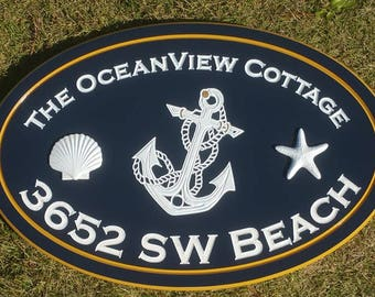Outdoor Ocean Address Beach House 3D Shell Coastal Cottage Signs Personalized