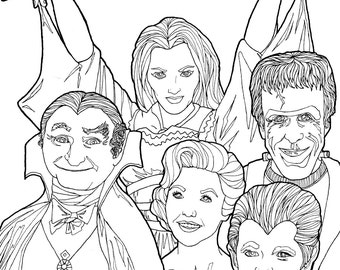 DIGITAL DOWNLOAD Munsters Coloring Book Page Halloween Pages Holiday Adult Classic TV Shows The