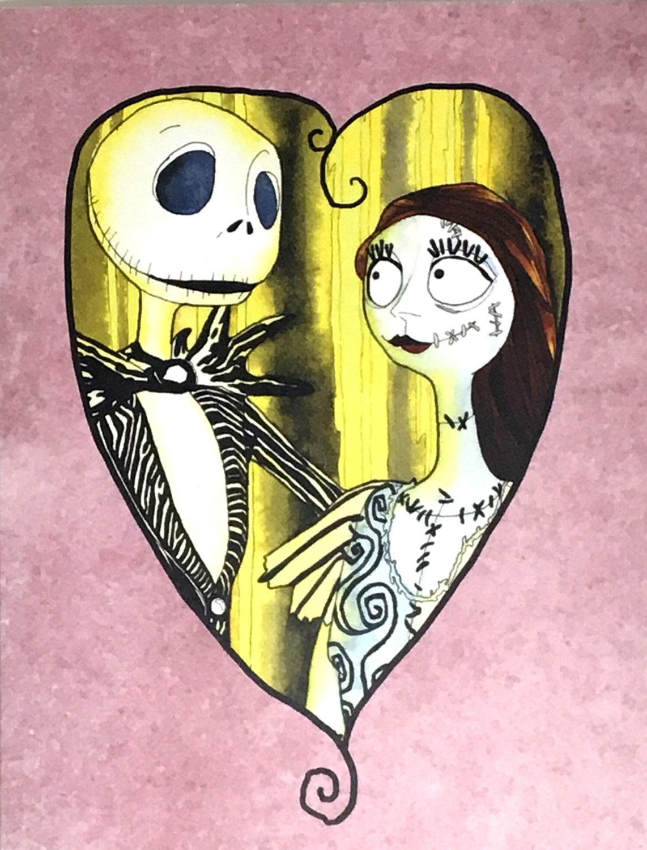 Jack and Sally Fan Art Watercolor Art Print Jack Skellington | Etsy