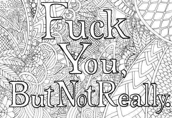 Adult Humor Coloring Pages F Bomb Coloring Book Pages Swear Etsy