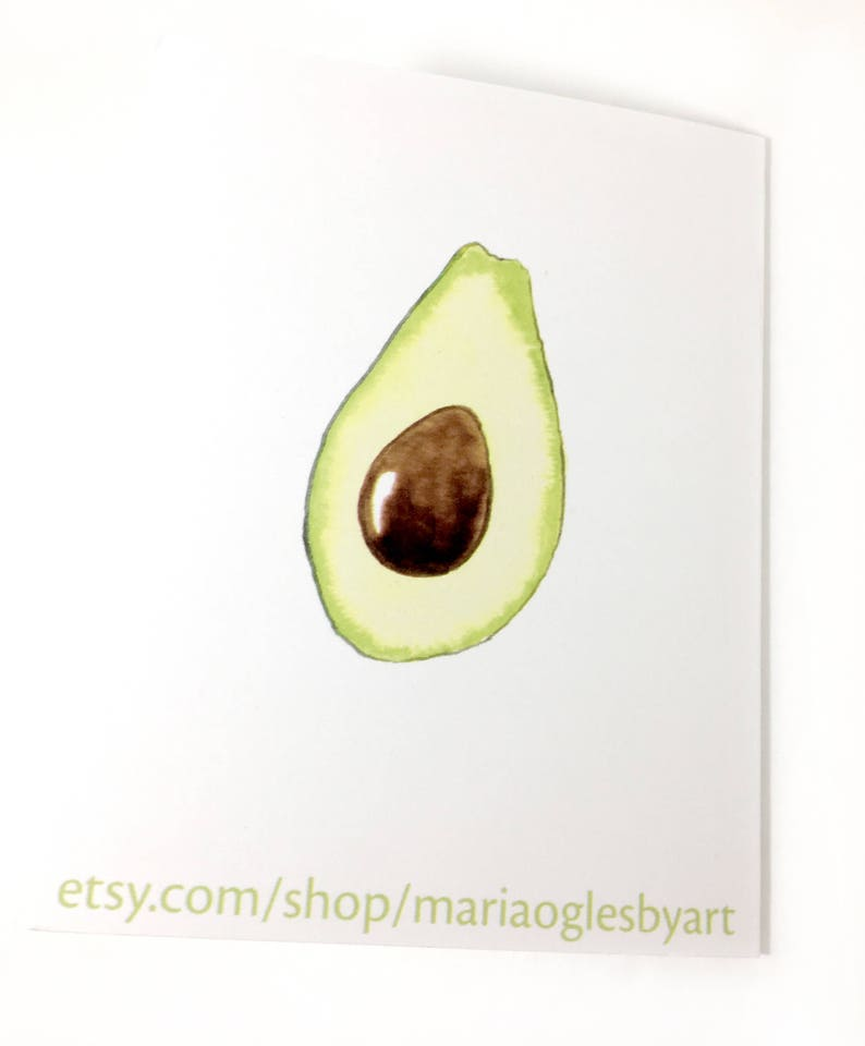 Avocado Note Cards Blank Note Cards With Avocado Image Avocado Card Foodie Card Gift for Foodie Watercolor Avocado Cards With Envelopes