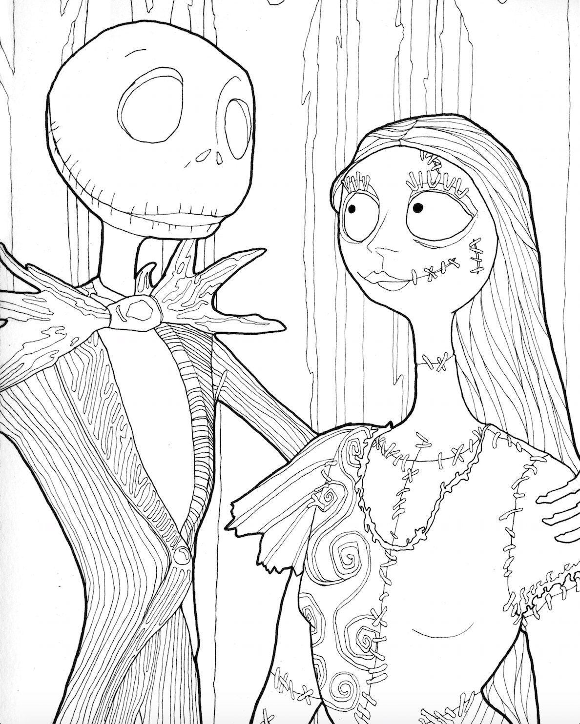 DIGITAL DOWNLOAD Jack and Sally Halloween Coloring Page | Etsy