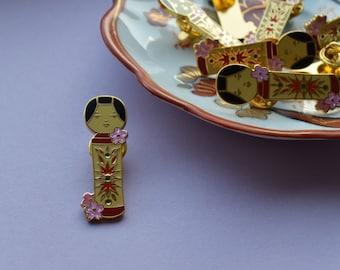 Original Japanese Kokeshi Doll - Hard enamel pin