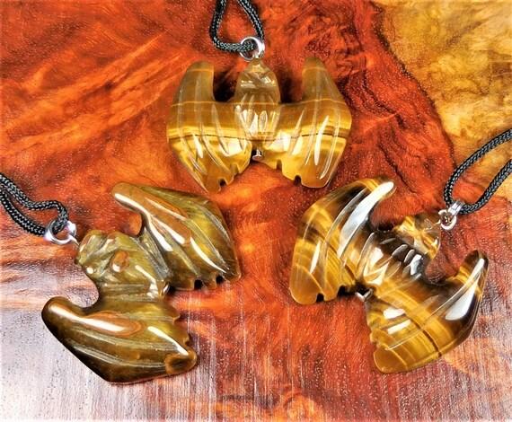 Bat Tigers Eye Gemstone Animal Pendant Hand Carved Stone Necklace