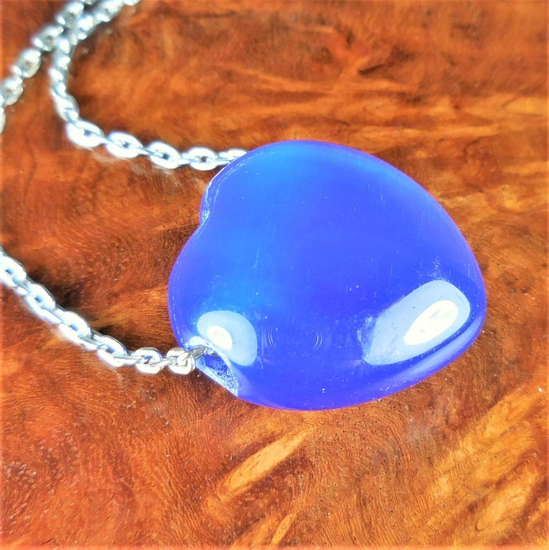 Heart Necklace Polished Healing Stones Smooth Puffy Hearts Blue Cats Eye Gemstone Charm Carved Bead Pendant Colored Glass Jewelry Y7