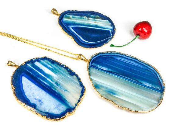 Large Blue Agate Slice Necklace Gold Pendant LR77 Healing Crystals and Stones