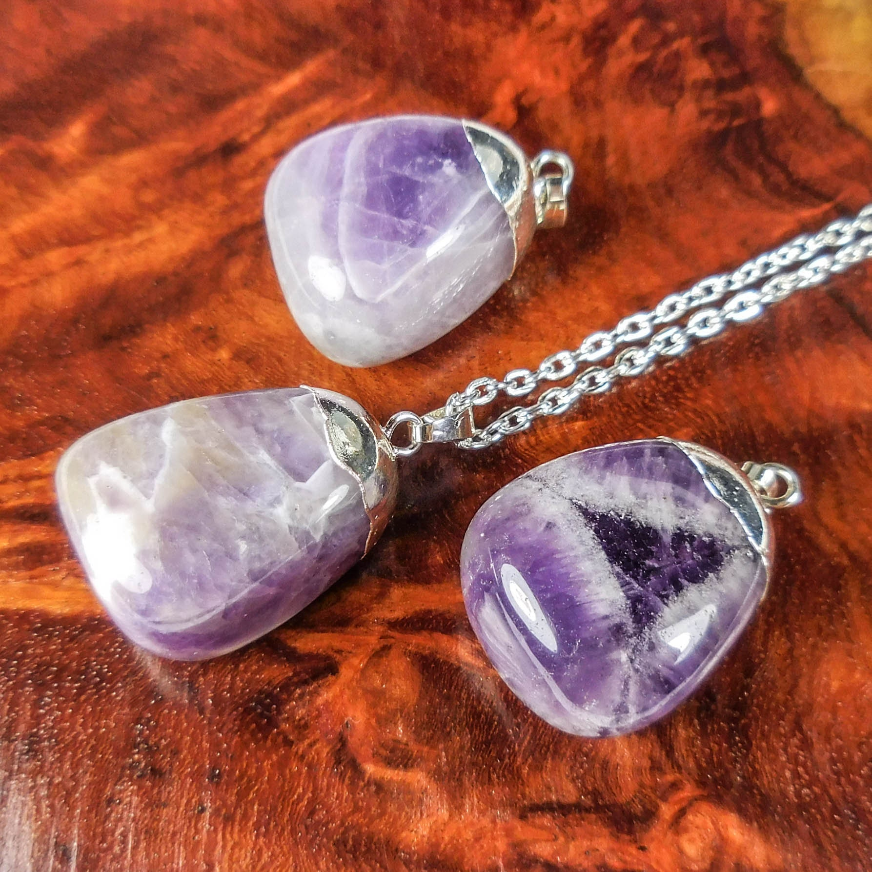 Handmade Banded Amethyst Pendant Necklace