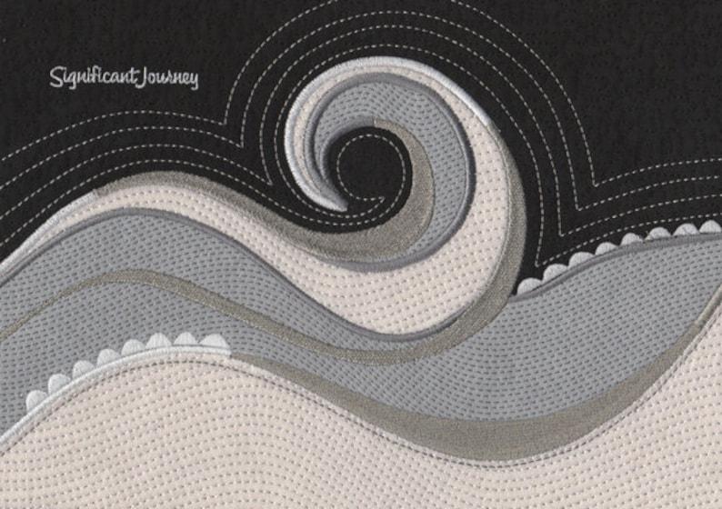 Wave machine embroidery applique design for handbags etsy