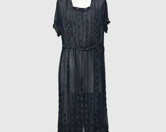 Vintage 20s Sheer Black Beaded Flapper Dress Deco Gatsby Size 12