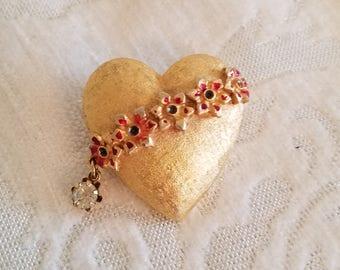 Vintage 1960s Mylu Gold Heart Brooch, Vintage Mylu Brooch, 1960s Heart Pin, Brushed Gold Tone Heart, Vintage Jewelry, Vintage Brooch