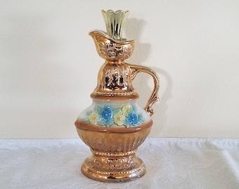 Vintage 1976 Gold Jim Beam Decanter, Jim Beam Floral Gold Decanter, Vintage Regal China Decanter, Vintage Jim Beam, Porcelain Deacanter