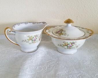 Vintage Meito China Sugar Bowl and Creamer, 1930s Meito China Mei83 Pattern, Vintage Meito Sugar Bowl and Creamer, Meito Handpainted China