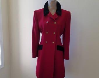Vintage 1980s Red Dress, 1980s Jones New York Coat Dress, Vintage Red Dress, Red Coat Dress, Size 12 Red Dress, Black Velvet Collar Dress