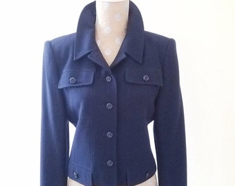 de90edf952ec6f Vintage 1990s Carlisle Navy Blue Wool Crepe Jacket, Size 8 Casual Style  Cropped Length Jacket, Wear With Jeans